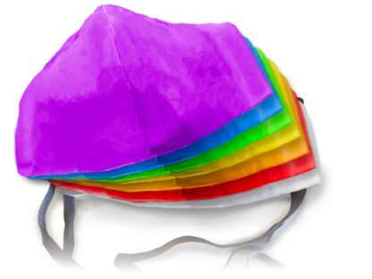 example face mask with every color of the rainbow.