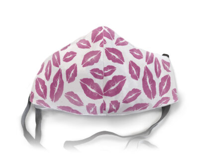 white face mask with plum kisses all over it.